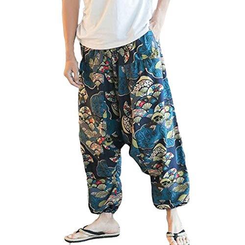 Pantalones De Harén Bombachos Hombre Mujer,ZARLLE Unisex para Yoga Cómodo Ancho Harem...