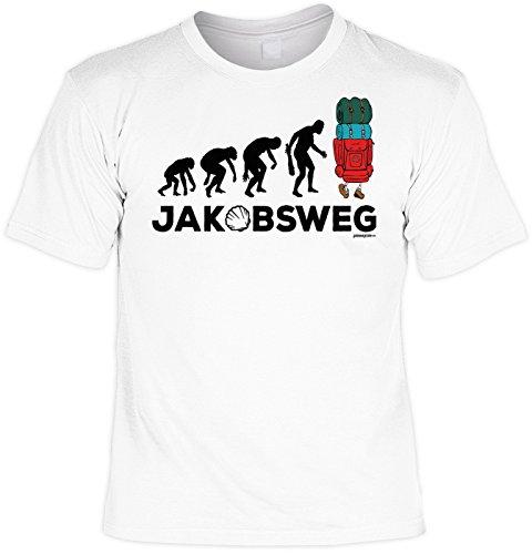 Wander T-Shirt Evolution Jakobsweg Pilger Shirt 4 Heroes Geburtstag Geschenk geil bedruckt Weiß