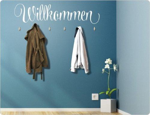 I-love-Wandtattoo 11557 Wandtattoo Garderobe mit Haken 'Willkommen'