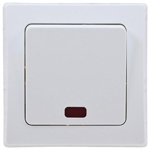 Chilitec 19719 Delphi Kontroll-Schalter mit Lämpchen, inkl. Rahmen, UP, weiß, 240 V - Weiß Kontrollschalter