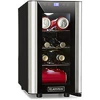 Klarstein Vinovista Picollo • Refrigerador para bebidas • Nevera para vinos • 24L • 8 botellas • 3 rejillas de metal• Iluminación LED • Silencioso • Temperatura regulable de 8 °-18 °C • Negro-Plateado