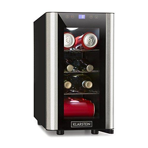 Klarstein Vinovista Picollo • Weinkühlschrank • Getränkekühlschrank • 24 Liter • 8 Flaschen • 3 Regaleinschübe • LED-Beleuchtung • geräuscharm • regelbare Temperatur von 8°-18°C • schwarz-silber