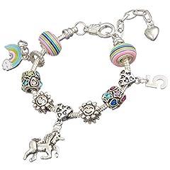 Idea Regalo - Jewellery Hut - Braccialetto con ciondolo a forma di unicorno, in confezione regalo, per bambine da 1 a 13 anni e placcato Argento, cod. BRSLUNICORN1-13