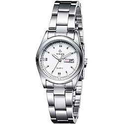 Frauen neue Marke Datum Tag Uhr weiblich Edelstahl Armbanduhr Damen Fashion Casual Armbanduhr Quarz Handgelenk Uhren