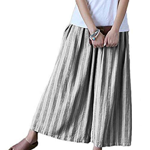 frauenkleidung Freizeit bettwäsche aus Baumwolle Streifen Breites Bein -