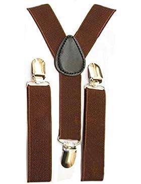 SODIAL Bambini delle ragazze dei ragazzi di Y-back bretella elastica regolabile Clip-On Bretelle caffe'