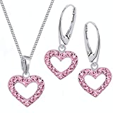 Rosa Kristall Herz Brisur Ohrringe + Anhänger + Halskette 925 Echt Silber Kinder Mädchen Set (40)