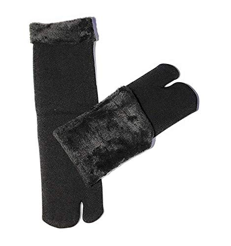 QUEERY Black Winter Thick Warm Fleece Lined Thermal Velvet Socks With Thumb for Women -Pack of 1 Pair