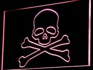 Enseigne Lumineuse i766-r Death's Head Skull Bone Display Neon Light Sign