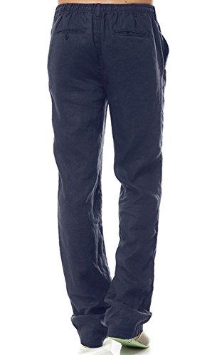 Insun Pantaloni Uomo Lino Pantaloni Casual Pantaloni Leggeri Estivi blu navy