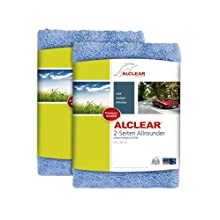 ALCLEAR polishing cloths 2-sided all-rounder for car motorcycle & polishing machine, detailing microfibre polishing cloth set, set of 2, absorbent 40x40 cm, Blue