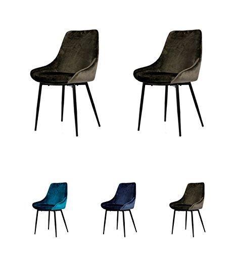 Tenzo Lex 2er-Set Designer Stühle, Metall, Braun/Grau, 85 x 47,5 x 56 cm (Hxbxt), Sitz : Stahl mit Schaum. Stoff : 100% Samt, Braun-Grau/Schwarz, Samtsitz - Stuhl Designer Stoff