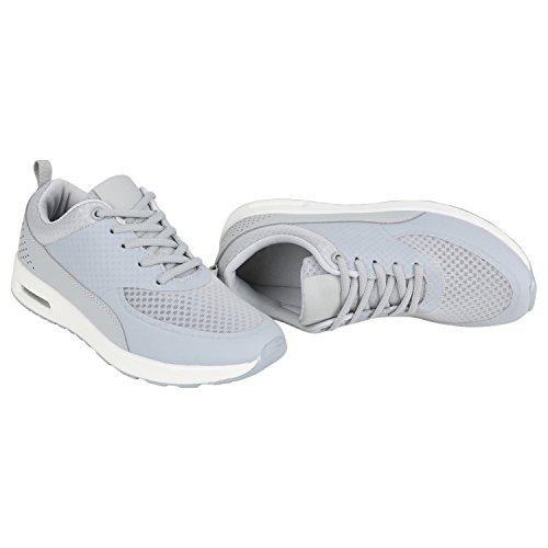 Stiefelparadies - Sneaker Donna Grigio chiaro/Bianco
