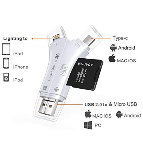 Kartenleser, 4 in 1 Lightning/Mirco USB/Typ C/USB OTG Flash-Speicher Kartenleser Adapter Unterstützung SD/TF/Micro SD Karte/Für PC Laptop Smartphones -