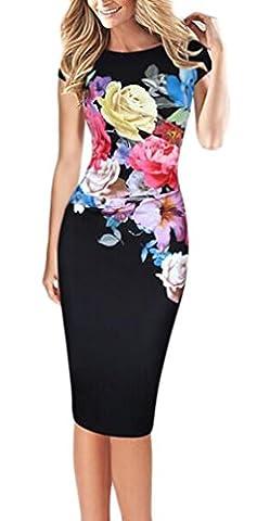 Mädchen Damen Sommerkleider Knielang Mit Blumen Print Kleid Slim Fit Elegant Festlich Stretch Große Größen Cocktailkleid Ballkleider Partykleider (2016 Plus Size Kostüme)