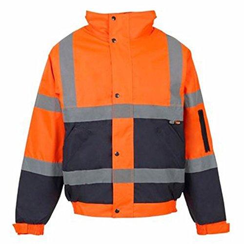 Hi Viz Bomber Jacket Reflective Tape Waterproof Quilted Railway Work Jacket Coat High Vis Safety Workwear Security Road Works Concealed Hood Fluorescent Flashing EN471