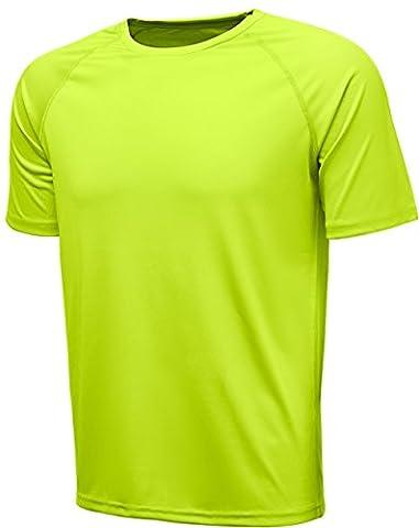 KomPrexx T-shirt de Sport Homme Tee Shirt de Running Manches Courtes pour Fitness(Yellow,XL)