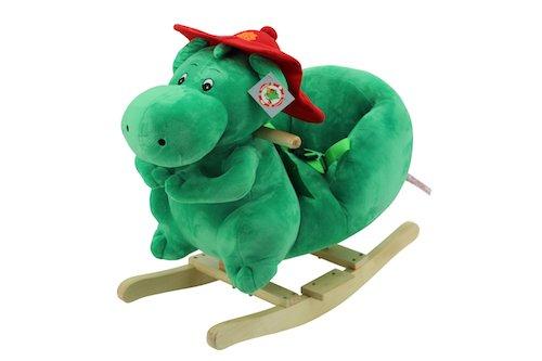 Sweety Toys 9053 GRISU Plüsch Schaukeltier Schaukelstuhl Drache Feuerwehrmaskottchen