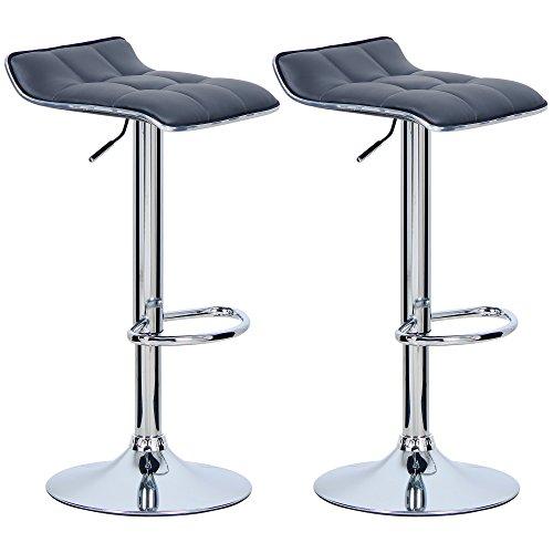 Woltu bh28gr-2 sgabelli da bar sedia cucina alta con poggiapiedi similpelle cromato regolabile girevole moderni classici grigio coppia set 2