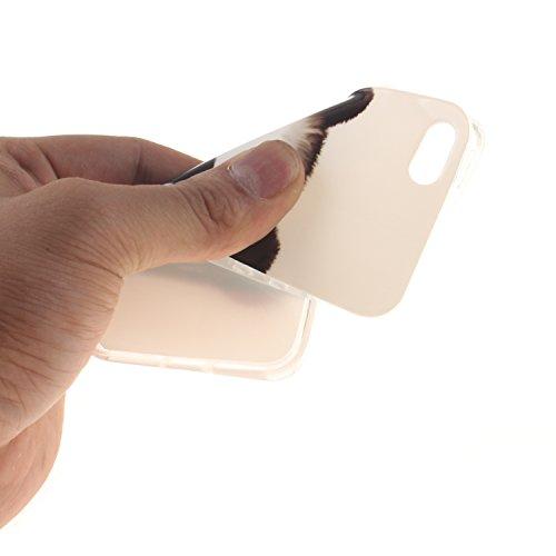 Apple iPhone SE,iPhone 5/5S Silicone TPU en Coque de téléphone , Etsue Nuit Luminous Glow Series Transparent Case Soft Phone Case Cover pour Apple iPhone SE,iPhone 5/5S, [Pissenlit] Motif de Ultra-min Panda