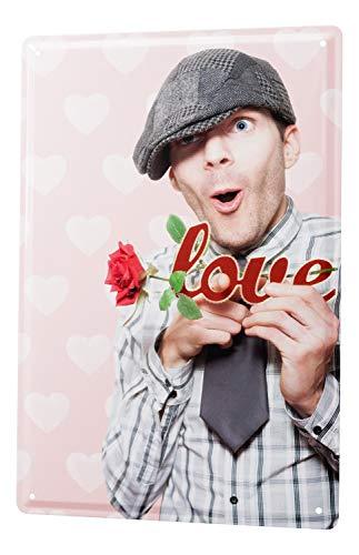 Blechschild Jorgensen Fotografie Foto Bilder Männer Model I Love you Rose Hemd Krawatte 20x30 cm