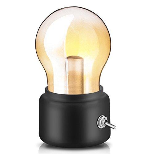 Retro Birne Lampe USB wiederaufladbare LED Nachtlicht Mini Nachttisch Schreibtischlampe Energiesparende 0026 elegante für Schlafzimmer Nachttisch Beleuchtung(Schwarz) -