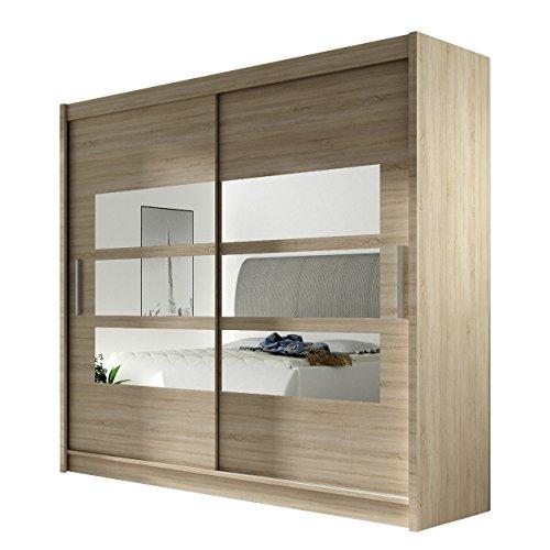 Kleiderschrank mit Spiegel London III, Schwebetürenschrank, Schiebetürenschrank, Modernes Schlafzimmerschrank 180x215x57cm, Garderobe, Schlafzimmer...