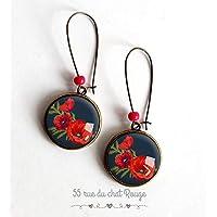 Boucles d'oreilles cabochon, Coquelicots, fleurs rouge, noir, bronze, faits mains, bijoux pour femme