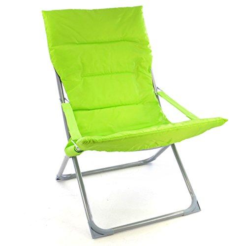 Nexos Camping Stuhl Apfelgrün klappbar Stahlrohr Gartenstuhl bis 110 kg Bezug abnehmbar abwaschbar pflegeleicht 80x60x92 cm 600D Polyester Liegestuhl