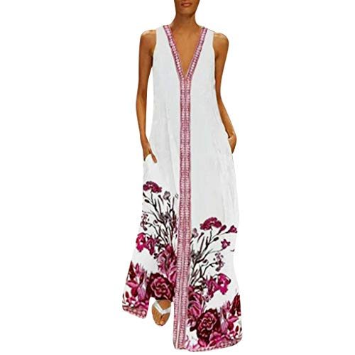 MAYOGO Kleid Damen Sommer Lang Elegant Schick Große Größen Ärmellose Maxikleid Schmetterling Muster Casual Cool Leichte Kleider mit Tasche S-5XL - Silber Maxi-kleid Glanz