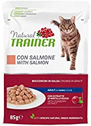Natural Trainer - Cibo Umido per Gatti Adulti con Salmone e Fibra di Pisello - 12 Buste x 85gr - 1020 gr