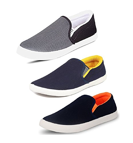 Tempo Men's Multicolor 3 Combo Pack of Synthetic Leathers Loafers Shoes(SLVR-6 BLK/SLV Yellow/SLV ORN)-8