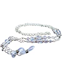 ~SILVER ICE~ CRYSTAL GLASS BEADED GLASSES SPECTACLES CHAIN EYEGLASS HOLDER.UK HANDCRAFTED.FREE UK POSTAGE