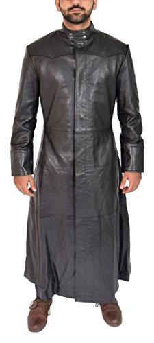 House Of Leather Hombre Cuero Abrigo de Longitud Completa Clásico Invierno Gabardina Parka Jones Negro (Small)