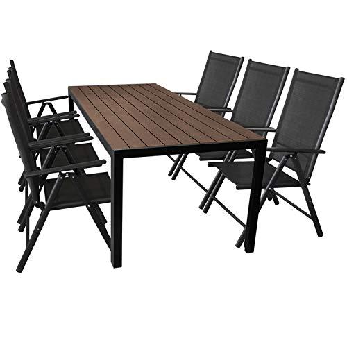 7tlg Sitzgarnitur Alu Gartentisch mit Polywood Tischplatte in Braun, 205x90cm + 6x Aluminium Hochlehner, 7-fach verstellbar, Textilenbespannung schwarz - Gartenmöbel Set Gartengarnitur Sitzgruppe