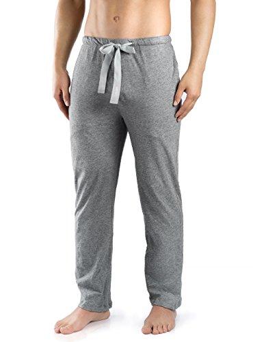 Genuwin Herren Schlafanzughosen Baumwolle Jersey Hose Lang Schlafanzug PJ Unterseite mit Tunnelzug 1er Pack (M, Heidekraut Grau ) -