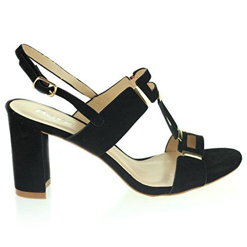 Femmes Dames Orteil Ouvert Slingback Courroie de Boucle Soir Casual Fête Talon Moyen Des Sandales Chaussures Taille Noir