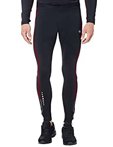 Ultrasport Herren Laufhose, Lang, black red, S, 10243