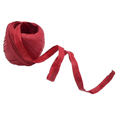 Homyl 20m Naturbast Raffiabast Bast Bindebast Papierschnur Geschenkpapier Bänder Papierkordel zum basteln dekorieren - rot