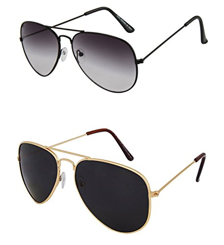 SHVAS UV Protected Combo Sunglasses 1 pc Black Aviators + 1 pc Gold Frame Green Lens Aviator [AVGREYAVGBLACK]