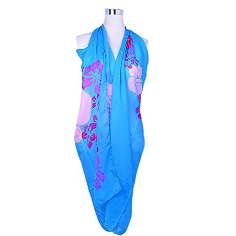Saint Valentin Sarong Motif Floral en Mousseline Multi-style (Phalaenopsis Bleu)