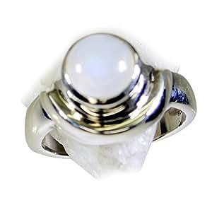 55Carat Natural Rainbow Moonstone Silver Ring For Women Birthstone Handmade Astrological UK H-Z 12PYBW4Mb