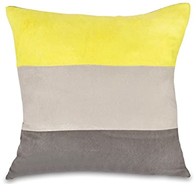 "Yellow, Grey & Pewter Faux Suede 18"" Cushion Cover - cheap UK light store."