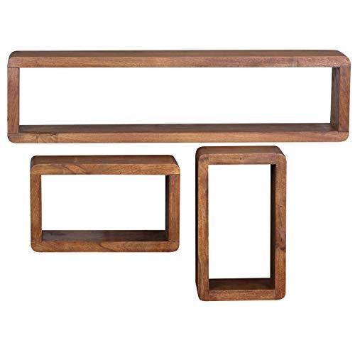 FineBuy 3er Set Wandregale Massiv-Holz Sheesham Holz-Regal Landhaus-Stil Hängeregal Echt-Holz Design Wand-Board Natur-Produkt Wandkonsole dunkel-braun unbehandelt Regale zum Aufhängen Unikat Ablage