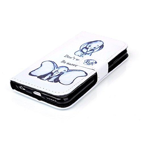 iPhone 6S Wallet Case Cover - Felfy Ultra Slim Cuir Coque Pour Apple iPhone 6 / 6S 4.7 Zoll Flip Retro Bleu Papillon Motif PU Étui Portefeuille Housse Etui Holster + 1x Blue Touch Stylus + 1x Strass B éléphant