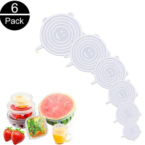 Dydiy coperchi in silicone stretch,6 pezzi di diverse dimensioni coperchio in silicone per aliment coperchi silicone,riutilizzabile ed espandibile coperchio per ciotole, piatti, barattoli,tazze