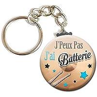 PORTE CLÉS Chaînette 3,8 cm ✩ J'Peux Pas J'ai BATTERIE ✩ (idée cadeau humour musique instrument excuse)