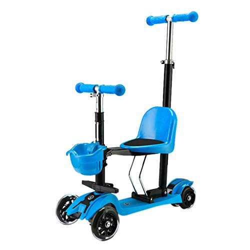 Patinetes Scooters Negros/Azules/Rojos con Asiento, Regalo de cumpleaños para niños de 1 año en adelante, Boy Girl, 40 kg (Color : Azul)