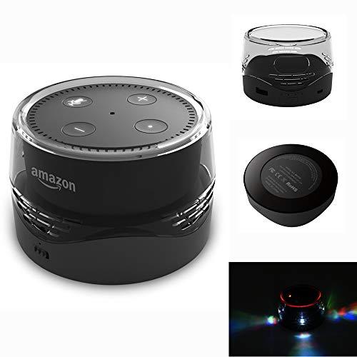 BECROWMEU Tragbarer Akku Basis für Echo Dot, 6000 mAh Smart Externe Batterie Base Wireless Charging mit USB zum Laden von Handys und Anderen Geräten schwarz