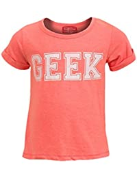 Girls Funky Diva GEEK Short Sleeve Split Back T Shirt